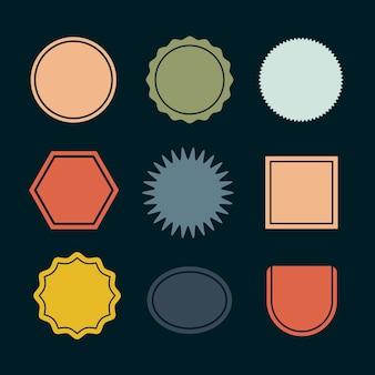 Badges vierges colorés mis vecteur dans un style rétro