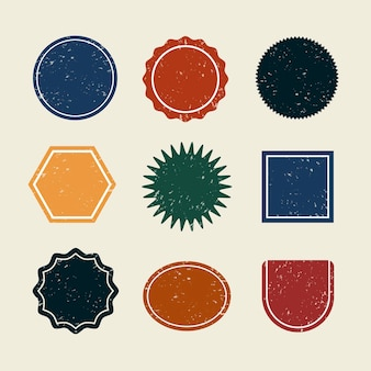 Badges vierges colorés mis vecteur dans un style vintage
