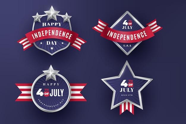 Badges vintage 4 juillet fête de l'indépendance