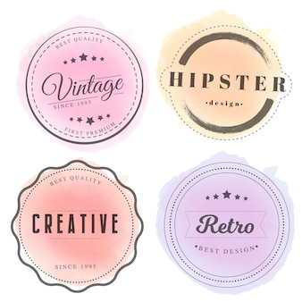 Badges vintage avec aquarelle