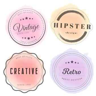 Badges vintage avec aquarelle
