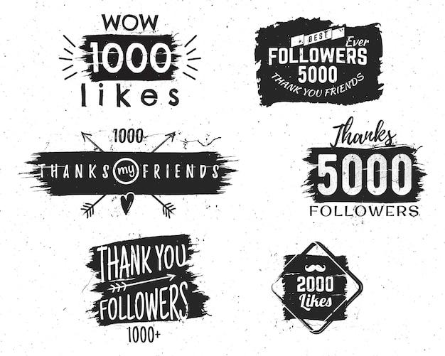 Badges vintage et signes avec différentes citations sur les réseaux sociaux, merci aux suiveurs