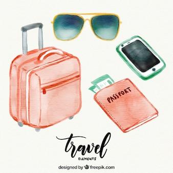Bagages et autres accessoires de voyage aquarelle