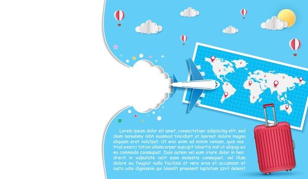 Bagages et avion avec check in voyage art concept papier