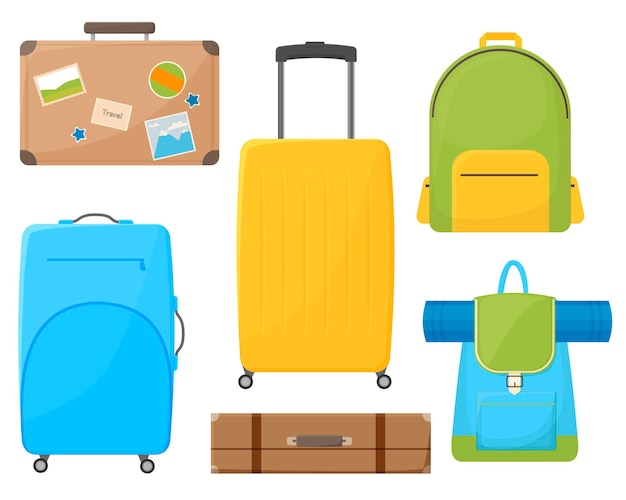 Bagages de couleur dessin animé, ensemble de sac isolé