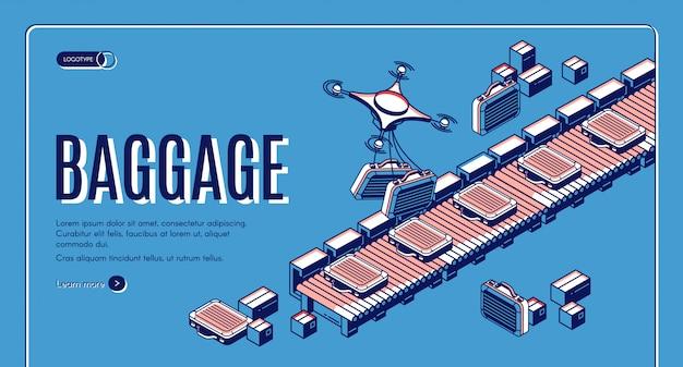 Bagages dans la page de destination ou le modèle de bannière isométrique du convoyeur de l'aéroport