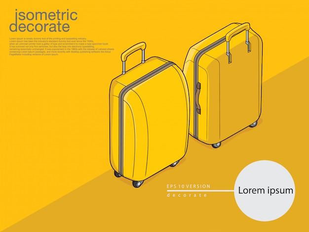 Bagages jaunes de couleur jaune sur fond