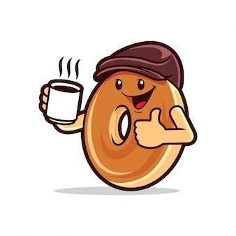 Bagel boy boire du café