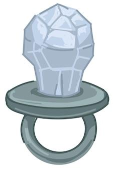 Bague en argent avec cristal, icône de bijoux modernes