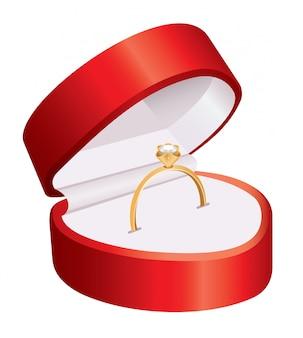 Bague dans une boîte rouge