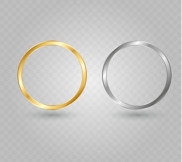 Bague dorée de luxe abstrait. cercles lumineux et effet de lumière étincelante.