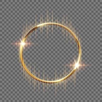 Bague étincelante dorée avec rayons isolés sur fond transparent.