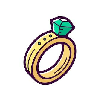 Bague de fiançailles dorée avec émeraude