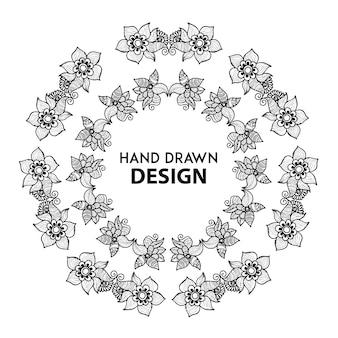 Bague florale en noir et blanc dessiné à la main