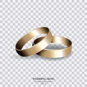 Bague de mariage or sur fond transparent