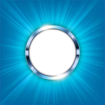 Bague métallique avec espace de texte et lumière bleue illuminée