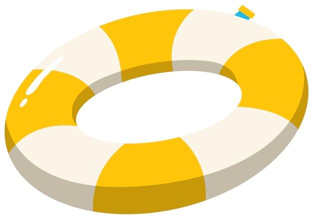 Une bague de natation jaune sur fond blanc