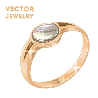 Bague solitaire diamant rond doré dans un style vintage traditionnel