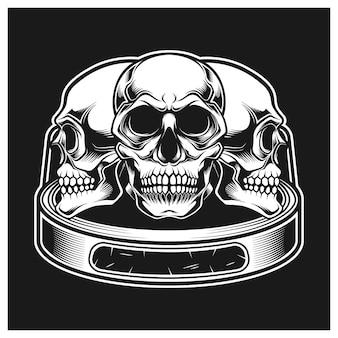 Bague avec trois crânes