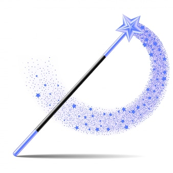 Baguette magique avec étoile bleue avec piste d'étincelle magique sur fond blanc.