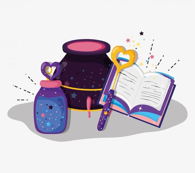 Baguette magique et livre avec chaudron et potions