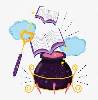 Baguette magique avec des livres et pourrait mystérieux