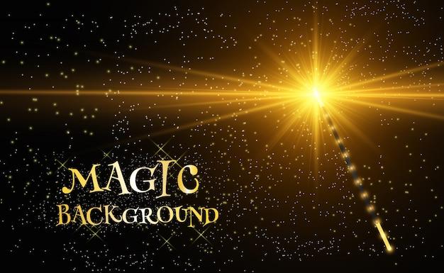 Baguette magique réaliste avec des étincelles lumineuses sur un fond transparent.