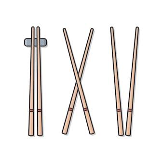 Baguettes en bois set illustration isolée. ensemble de baguettes de cuisine japonaise, chinoise, asiatique classique isolé