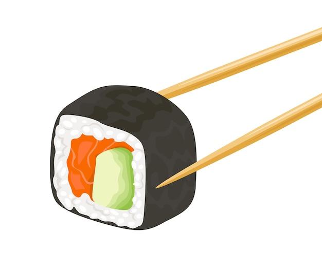 Les baguettes en bois tiennent le rouleau de sushi