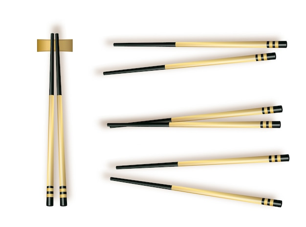 Baguettes. définir les accessoires pour sushi isolé sur fond blanc. illustration