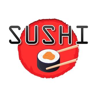 Baguettes de logo de sushi tenant le logo de nourriture japonaise de rouleau de sushi