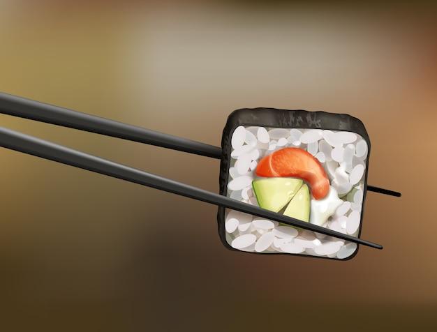 Baguettes tenant un rouleau de sushi au saumon, avocat et fromage à pâte molle sur fond flou