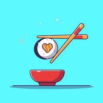 Baguettes tenant un rouleau de sushi avec bol de sauce soja plat cartoon illustration isolé