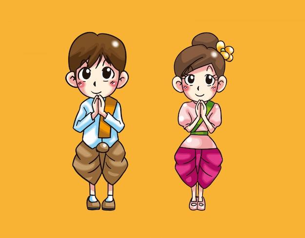 Baie et fille accueillent un dessin animé thaïlandais