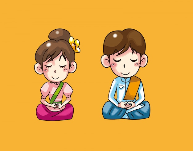 Baie et fille méditant dessin animé thaïlandais