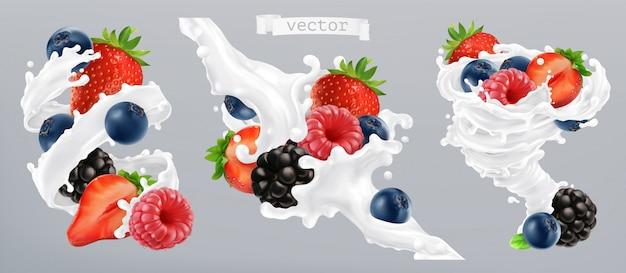 Baies forestières et éclaboussures de lait. fruits et yaourts.