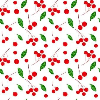Baies rouges et feuilles vertes modèle sans couture dessinés à la main