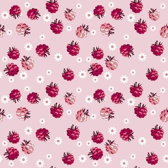 Baies rouges sur modèle sans couture rose pâle