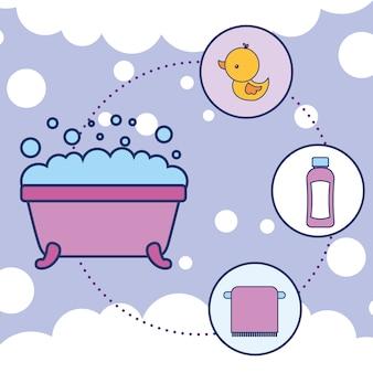 Baignoire en caoutchouc canard shampooing et serviette salle de bain