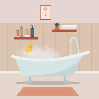 Baignoire mousseuse dans une chambre confortable