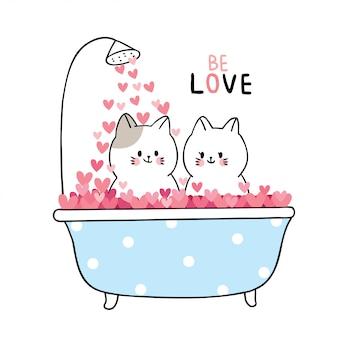 Bain de chats blancs dans les coeurs