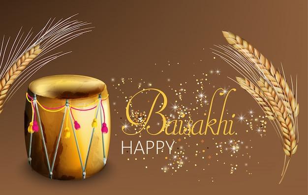 Baisakhi heureux avec des épices de blé et des tambours ornés de festival