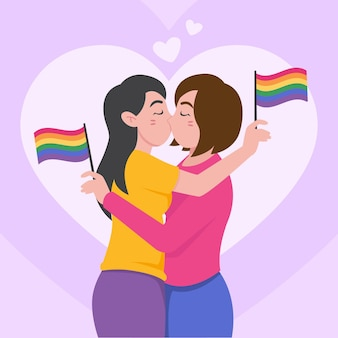 Baiser de couple de lesbiennes design plat illustré