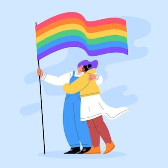 Baiser lesbien plat illustré