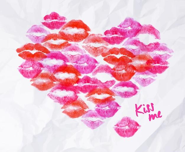 Baiser de rouge à lèvres coeur