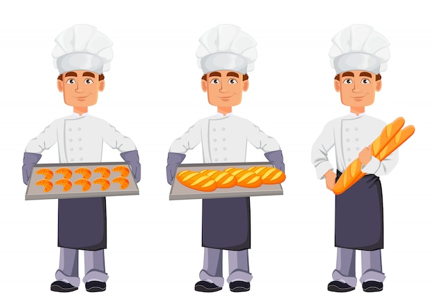 Baker ensemble de trois poses