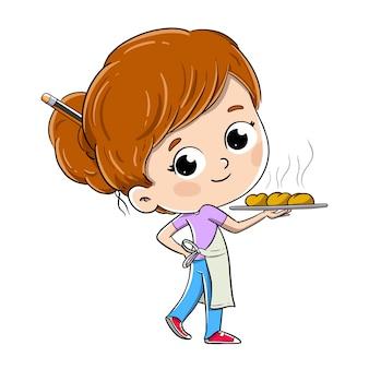 Baker fille avec un plateau avec des petits pains, du pain ou des bonbons