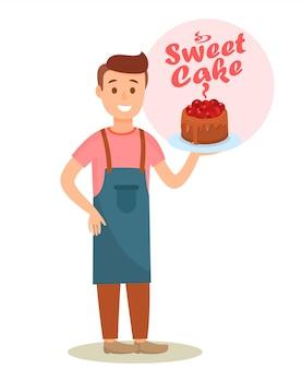 Baker tenant un personnage de dessin animé de gâteau au chocolat
