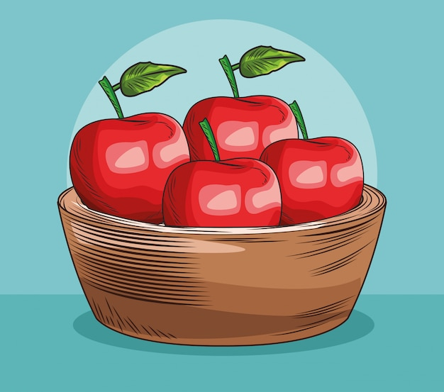 Baket aux pommes fruits frais
