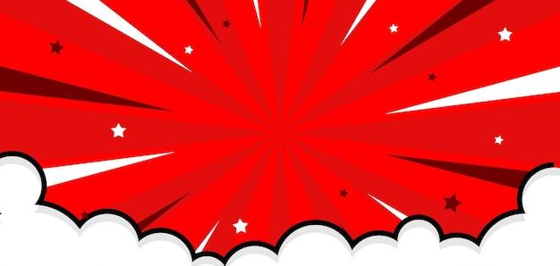Bakground rouge comique avec illustration de nuage